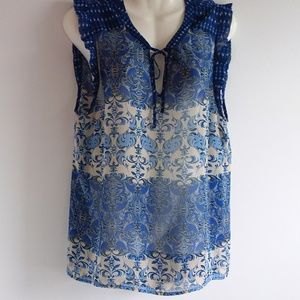 Elle Sheer Blue, Tan & Black Print Top w/ Tie